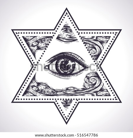 Star David All Seeing Eye Sacred Geometry Stock Vector 516547786
