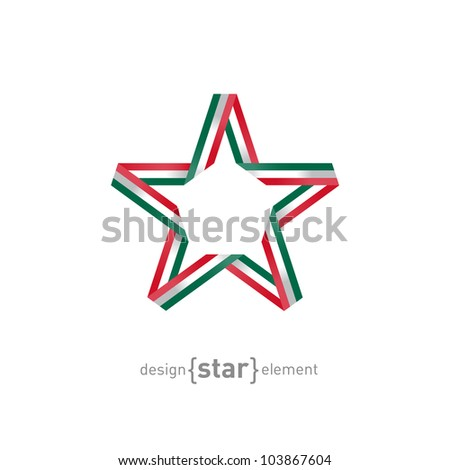 The star with Mexico flag colors vector design element - stock vector