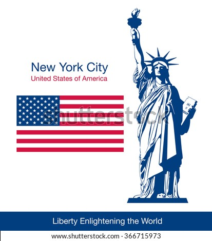 The Statue of Liberty and flag of the United States. Vector illustration