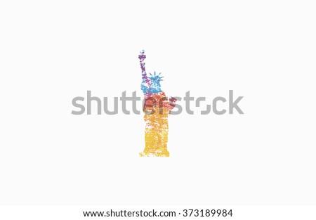 The Statue of Liberty. Colorful logo. New York. America. Creative logo - stock vector