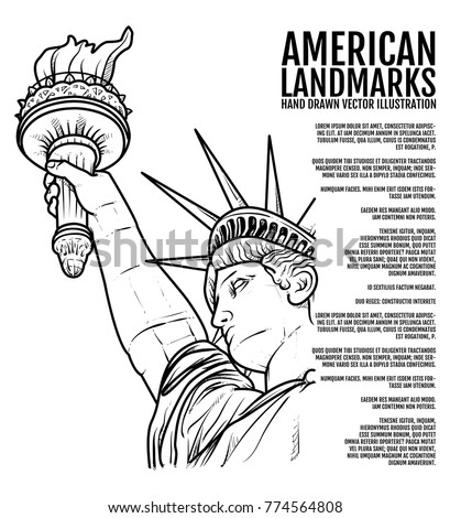Drawing mushrooms isolated outline on white stock vector for Statue of liberty drawing template