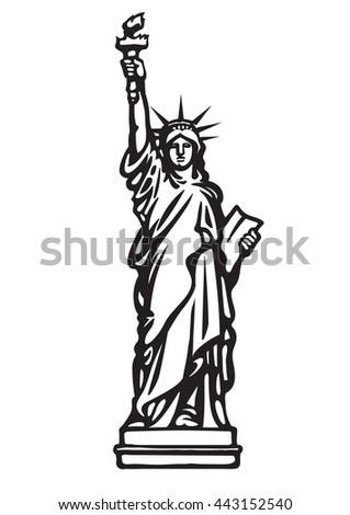 The Statue of Liberty New York city.Black and white skethc.Hand drawn vector illustration isolated on white background.Can be used as a stencil