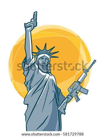 The statue of Liberty with guns in her hands. Vector illustration .eps10