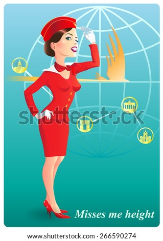 The stewardess smiling  in red uniform in greeting on a background of the globe, and the route of flight. - stock vector