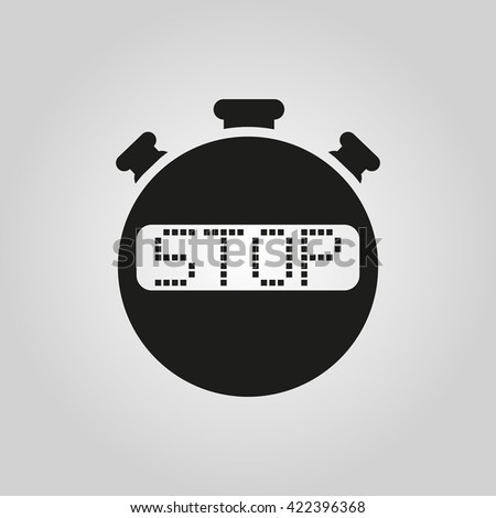 The stop stopwatch icon. Clock and watch, timer, countdown symbol. UI. Web. Logo. Sign. Flat design. App. Stock vector - stock vector