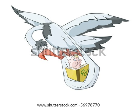 The stork is carrying the baby reading the book - stock vector