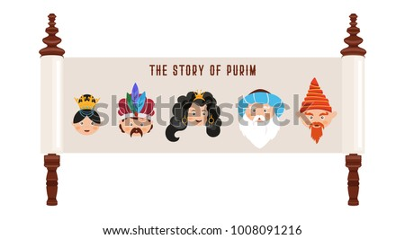 Story purim traditional characters jewish ancient stock photo photo the story of purim with traditional characters jewish ancient scroll banner template vector stopboris Gallery