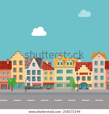 The street with facades of old buildings. Seamless pattern - stock vector
