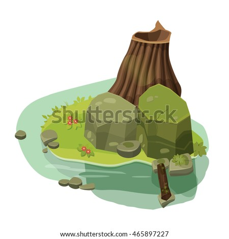 The structure for computer games, home, building, water, rocks, Cartoon, vector illustration
