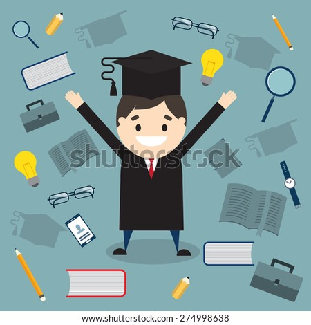 The student in graduation gown and mortarboard on background of education icons. Vector illustration - stock vector