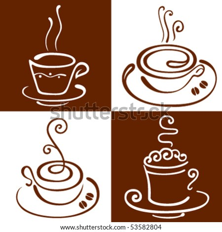 The stylised cup of coffee - stock vector