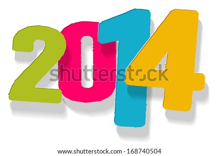The stylish New Year sign in green, violet, blue and yellow color / The playfull New Year sign / New Year