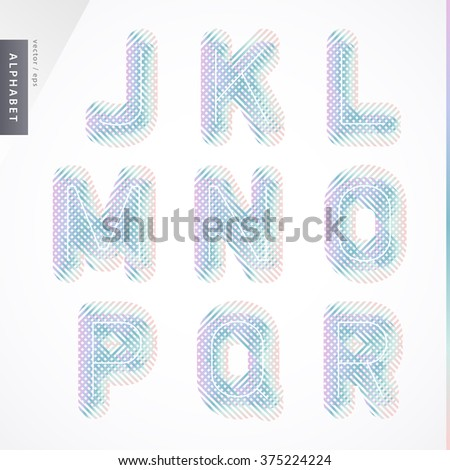 The stylish Pastel font is decorated in purple and green shades and can be easily combined with contrasting backgrounds to attract attention. Vector illustration. - stock vector