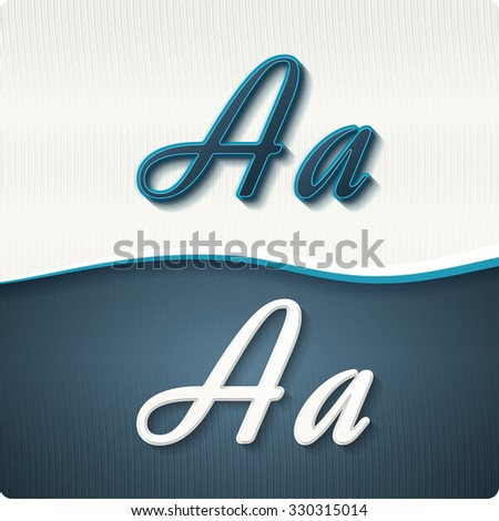 """The stylish white and blue italic letters of the alphabet, three-dimensional, with shadows. The capital letters """"A"""" and lowercase """"a."""" Set, vector EPS10. - stock vector"""