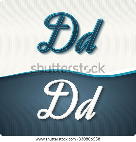 """The stylish white and blue italic letters of the alphabet, three-dimensonail, with shadows. The capital letters """"D"""" and lowercase """"d."""" Set, vector EPS10. - stock vector"""