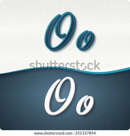 """The stylish white and blue italic letters of the alphabet, three-dimensonail, with shadows. The capital letters """"O"""" and lowercase """"o."""" Set, vector EPS10. - stock vector"""