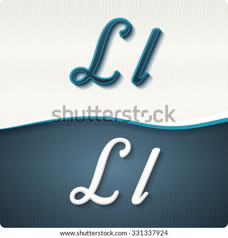 """The stylish white and blue italic letters of the alphabet, three-dimensonail, with shadows. The capital letters """"L"""" and lowercase """"l."""" Set, vector EPS10. - stock vector"""