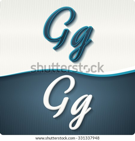 """The stylish white and blue italic letters of the alphabet, three-dimensonail, with shadows. The capital letters """"G"""" and lowercase """"g."""" Set, vector EPS10. - stock vector"""