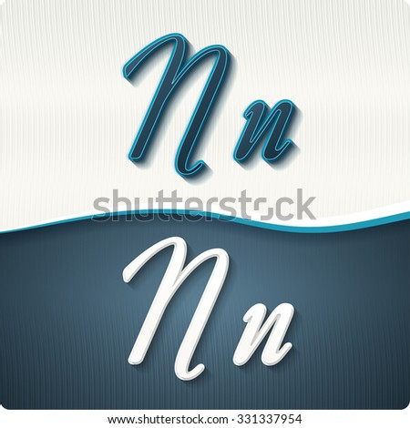 """The stylish white and blue italic letters of the alphabet, three-dimensonail, with shadows. The capital letters """"N"""" and lowercase """"n."""" Set, vector EPS10. - stock vector"""