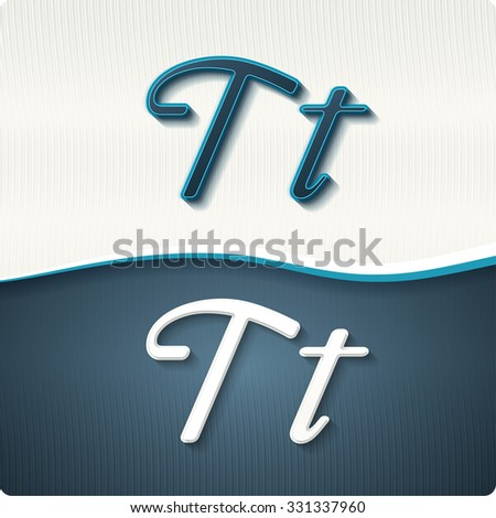 """The stylish white and blue italic letters of the alphabet, three-dimensonail, with shadows. The capital letters """"T"""" and lowercase """"t."""" Set, vector EPS10. - stock vector"""