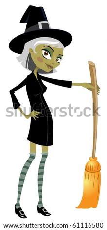The Stylish Witch And Her Broom-vector - stock vector