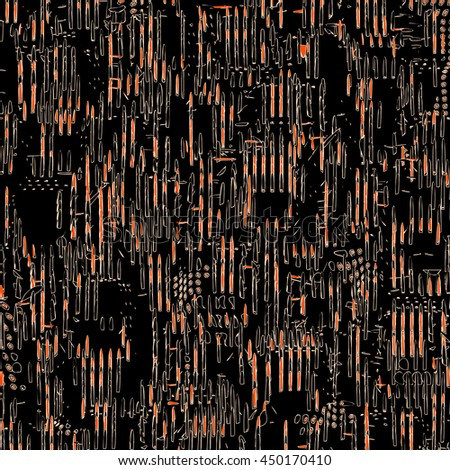 The stylized cityscape. Abstract background in black, white and orange tones with randomly arranged  geometric elements