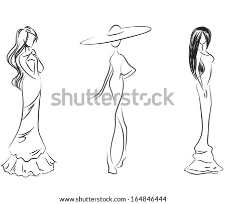 The stylized line silhouettes of females / Three stylized silhouettes of women  - stock vector