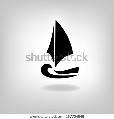 the stylized ship on a light background - stock vector
