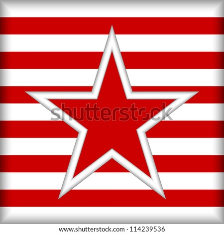 The stylized star on a striped background. Strips of red and white color.