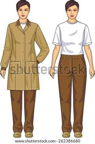 The suit for the woman consists of a jacket and trousers - stock vector