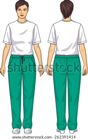 The suit for the woman consists of a t-shirt and trousers - stock vector