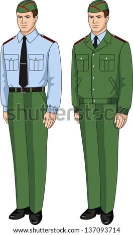 The suit special consists of a shirt, a jacket and trousers - stock vector