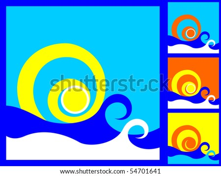 The Sun And The Sea . Vector abstract illustration.