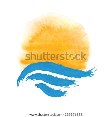 The sun and the sea. Vector icon illustration - stock vector