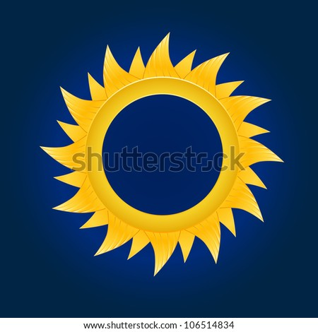 The sun circle. On blue sky background. Vector illustration - stock vector