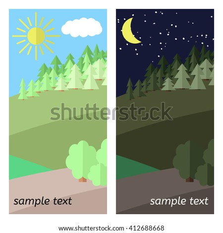 The Sun Shines and The Moon Lights on a Clearing in the Forest. - stock vector