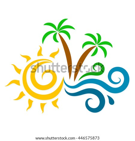 The sun, waves and palm trees silhouette for the vacation