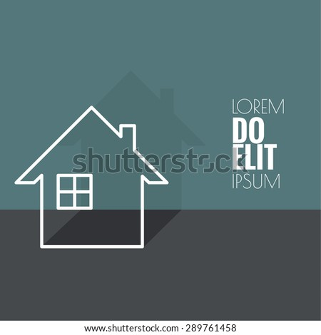 The symbol of a dwelling house with window and chimney.  Icon of real estate. Sign for business card of realtor agency.  flat design. minimal. outline - stock vector