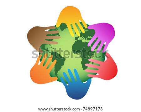 the symbol of color hands on world - stock vector