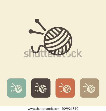 The symbol of knitting and needlework. A ball of yarn and knitting needles - stock vector