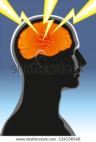 The symbolic image of mental health or human headache - stock vector