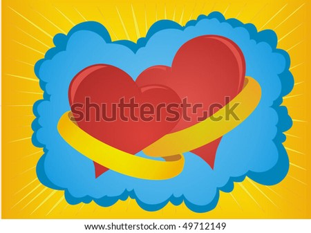 The symbolic image of two hearts joined together wedding rings. - stock vector