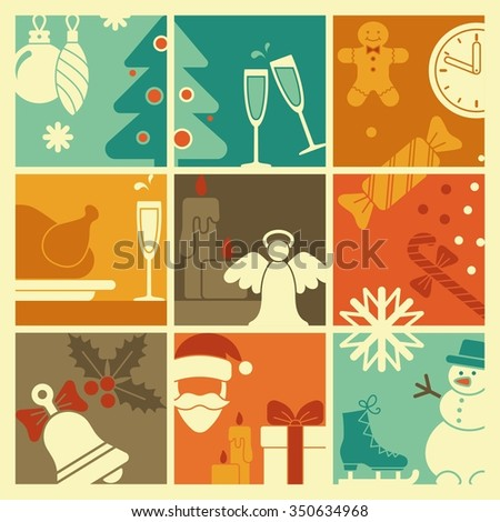 The symbols of new year and Christmas - stock vector
