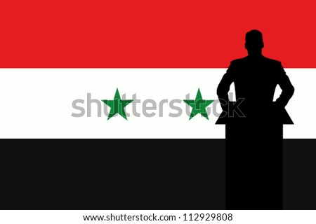 The Syria Flag with a Silhouette of a man giving a speech