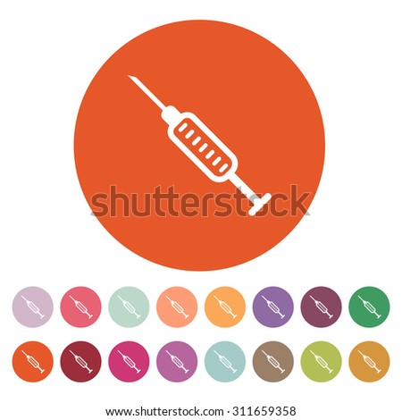 The syringe icon. Injector and hypodermic, preparation, medicine,  vaccine symbol. Flat Vector illustration. Button Set - stock vector