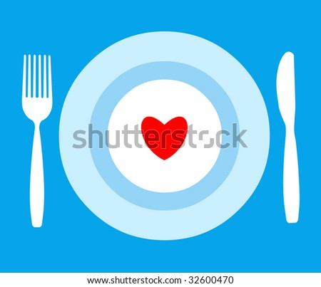 The tableware with heart - stock vector
