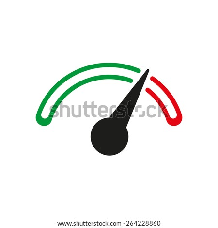 The tachometer, speedometer and indicator icon. Performance measurement symbol. Flat Vector illustration - stock vector