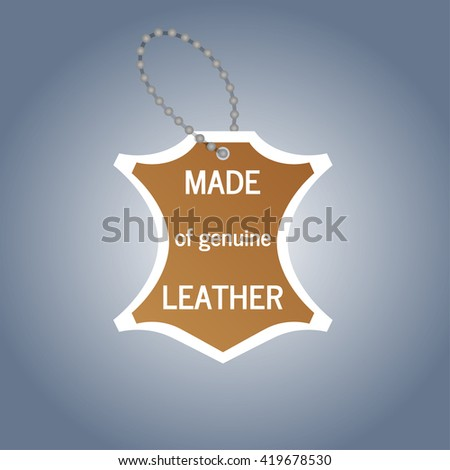 The tag that says genuine leather object vector - stock vector