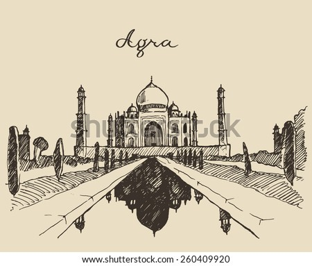 The Taj Mahal, located in Agra, Uttar Pradesh, India, engraved vector illustration, hand drawn, sketch - stock vector