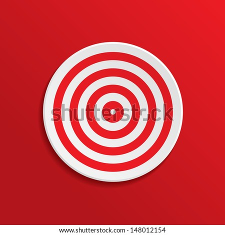 The target on a red background. Vector illustration.